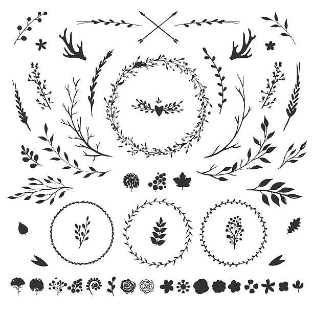 floral elements isolated on white - blumengirlanden stock-grafiken, -clipart, -cartoons und -symbole