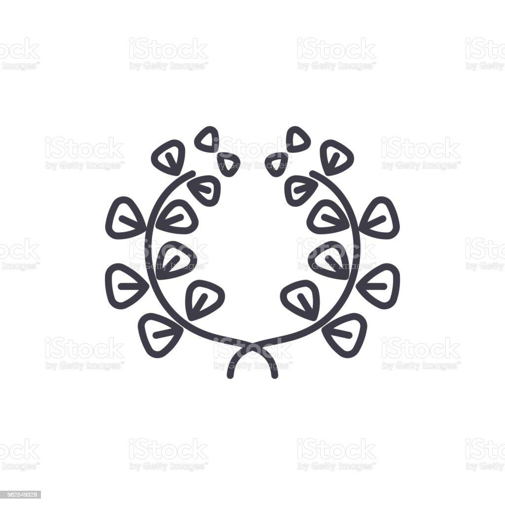 Conceito de ícone de linha elementos florais. Elementos florais Lisa sinal vector, símbolo, ilustração. - Vetor de Arte royalty-free