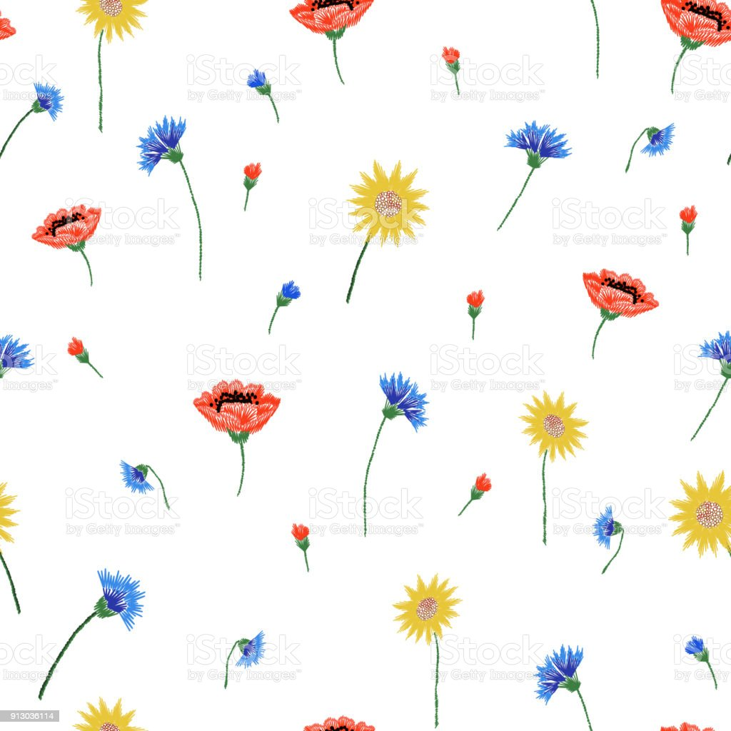 Ilustración de Floral Patrón Transparente Bordado Con Flores De ...