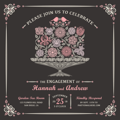 Floral Engagement Cake Invitation