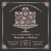Stylized Floral Cake with Lovebirds and Decorative Borader. Add your own text and year to this invitation.
