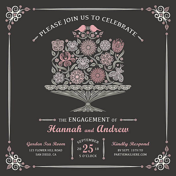 Floral Engagement Cake Invitation Stylized Floral Cake with Lovebirds and Decorative Borader. Add your own text and year to this invitation. wedding cake stock illustrations