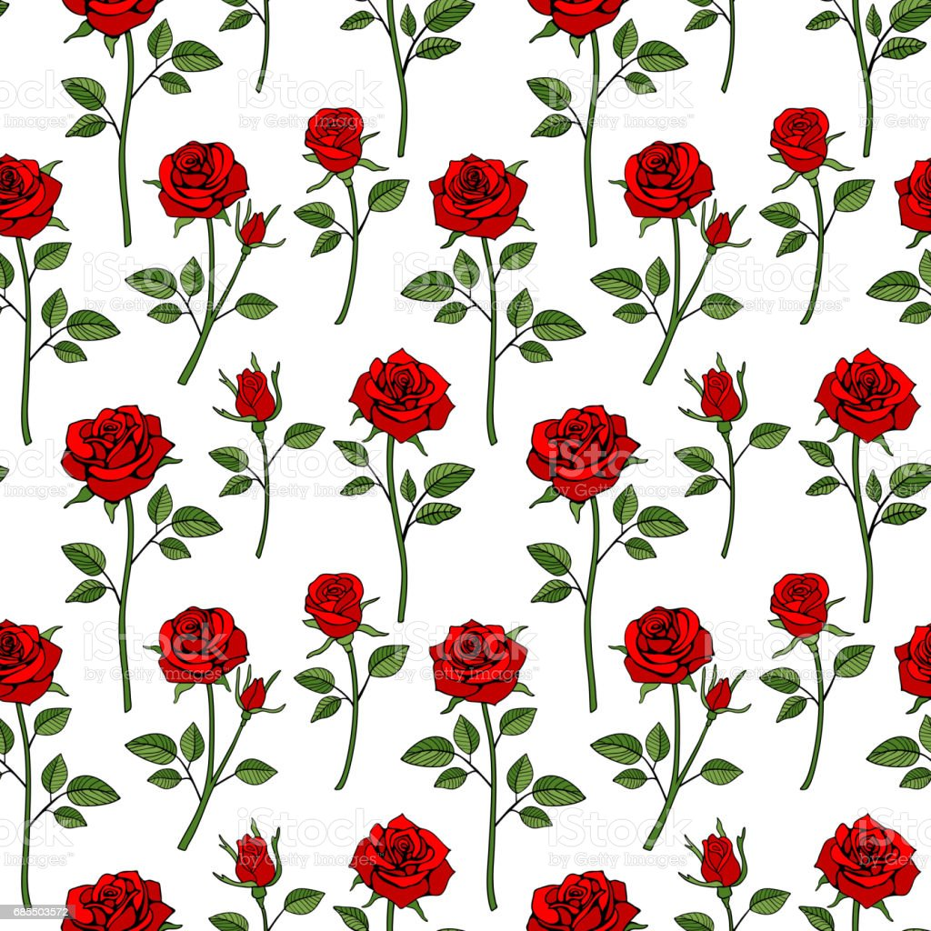 Floral english victorian seamless background. Garden rose pattern vector art illustration