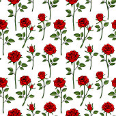 Floral english victorian seamless background. Garden rose pattern