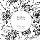 Floral engraving background. Greeting card with flower. Flourish circle frame.