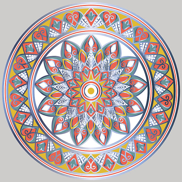 ethnische mandala blumenmuster - plastikteller stock-grafiken, -clipart, -cartoons und -symbole