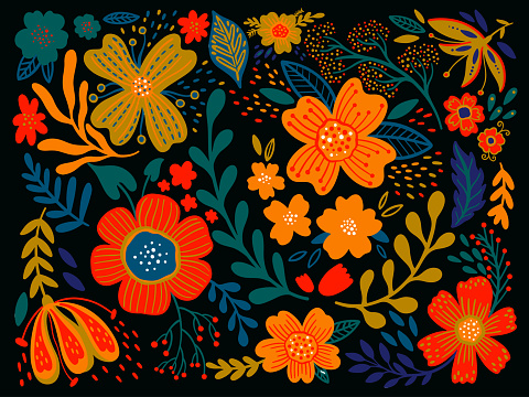 Floral ethno wild folk flowers in black background. Set of country style bouquet. Rustic chic. Use for textile design, wallpaper, covers, surface, print, gift wrap, scrapbooking, decoupage.