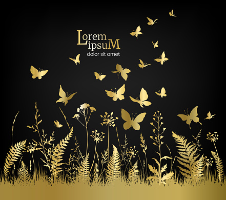 Floral field with golden flowers, herbs and butterflies on black background.