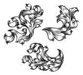 Floral Filigree Pattern Scroll Heraldry Design Set