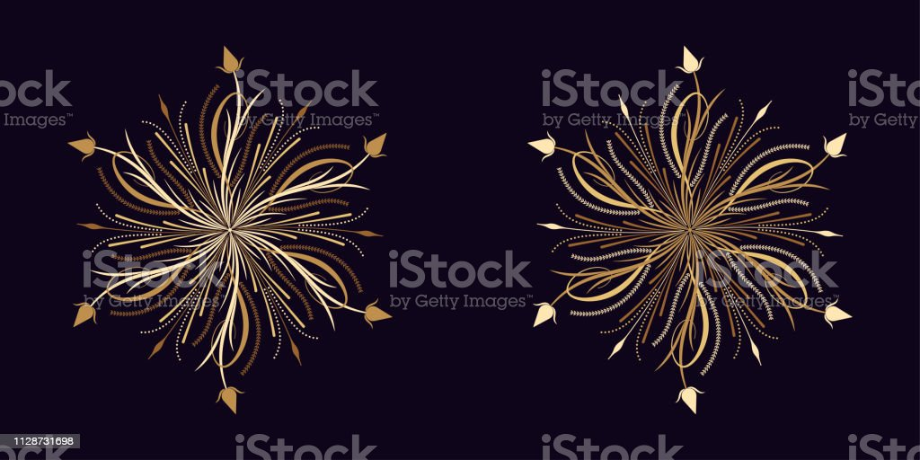 Floral flourish ornament in golden calligraphic style with 6...