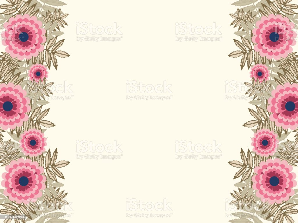 Floral Flower Leaf Greeting Card Template Background Border Stock