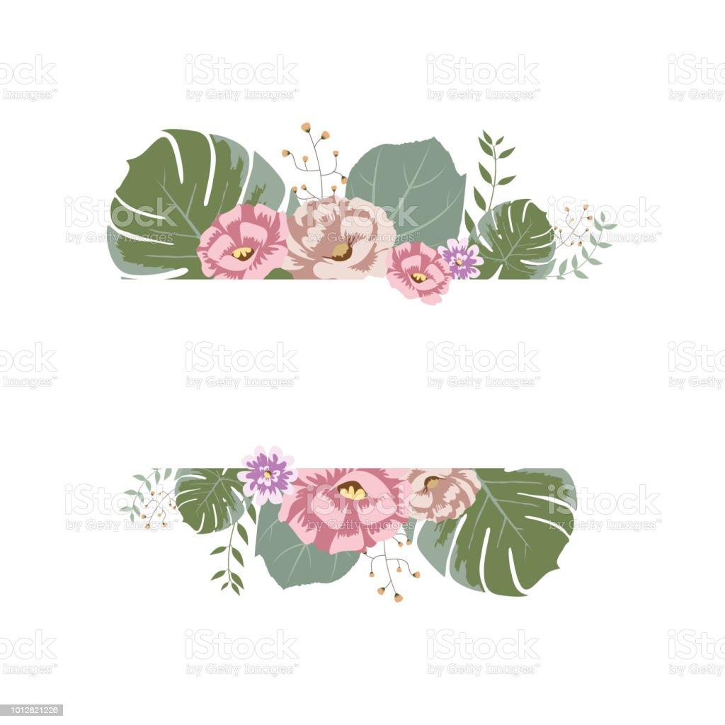 Floral Blumen Kranz Rahmen Flaches Design Illustration Stock Vektor ...