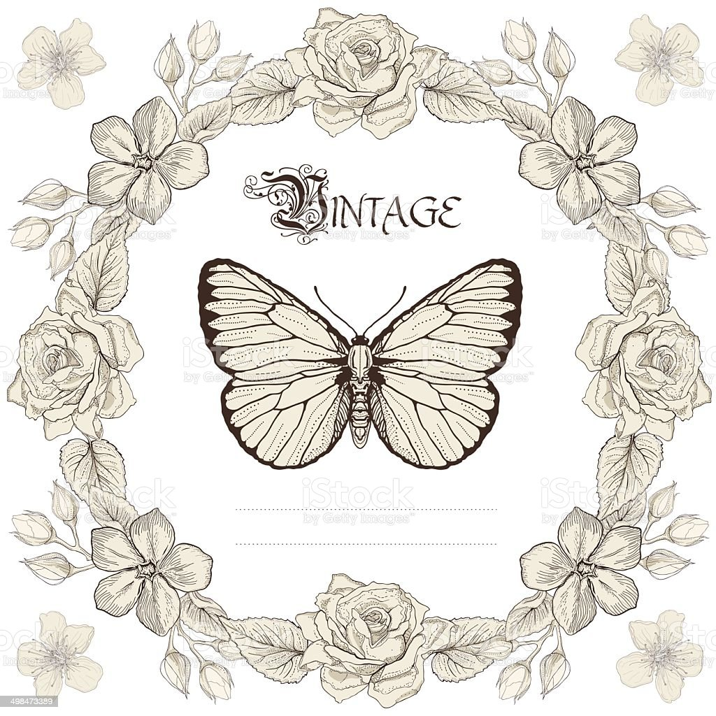 Floral Frame And Butterfly Engraving Style Stock Vector Art & More ...