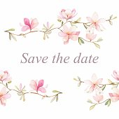 Watercolor flowers background. Save the date card background. Wedding invitation