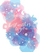 Vector of blue and red color watercolor background texture with white floral pattern silhouettes. EPS Ai 10 file format.