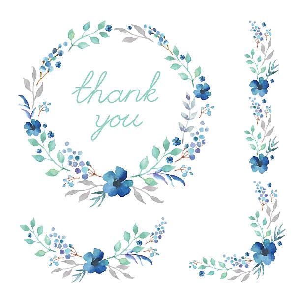 floral frame collection. set of cute retro watercolor flowers. - 美麗的人 幅插畫檔、美工圖案、卡通及圖標