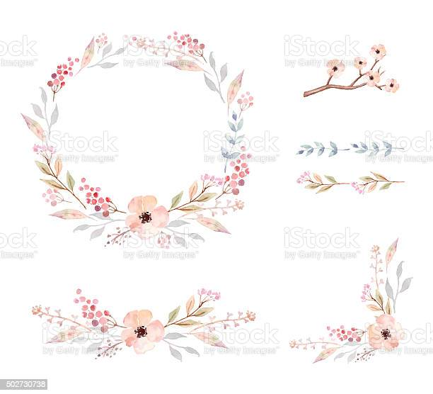 Floral frame collection set of cute watercolor flowers vector id502730738?b=1&k=6&m=502730738&s=612x612&h=wgl74fyfiqixw4pyofk6uuu1kes0qtgjn90pftl0bcc=