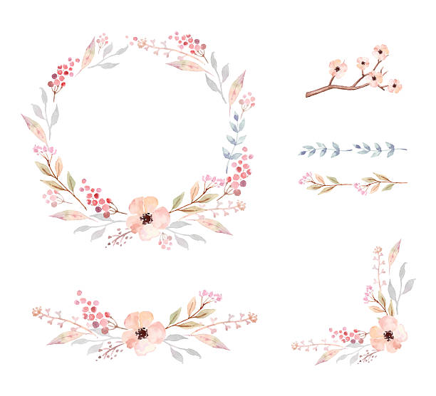 Floral Frame Collection. Set of cute watercolor flowers. Floral Frame Collection. Set of cute retro flowers arranged un a shape of the wreath perfect for wedding invitations and birthday cards single flower stock illustrations
