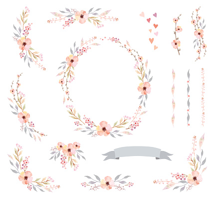 Floral Frame Collection. Set of cute watercolor retro flowers.