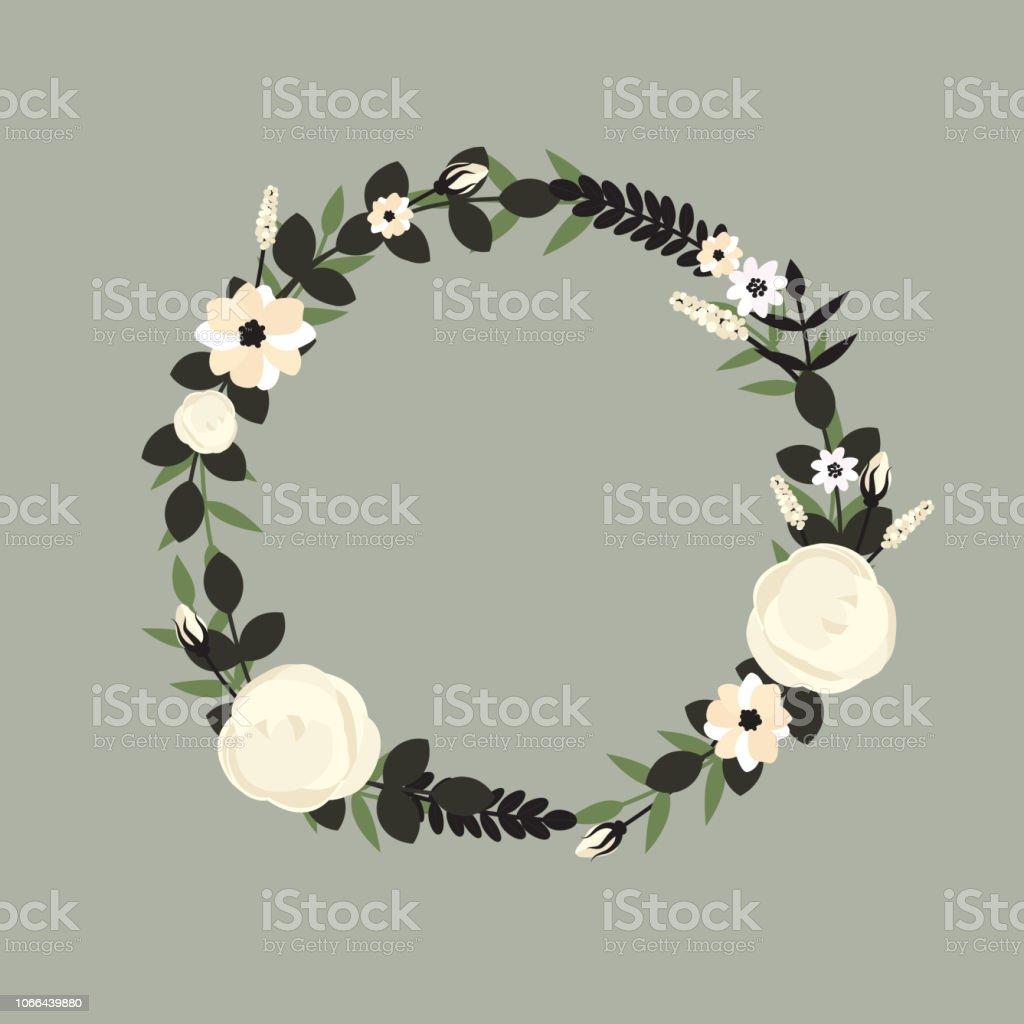 Blumenrahmen Zur Begrüßung Einladung Hochzeit Kartendesign
