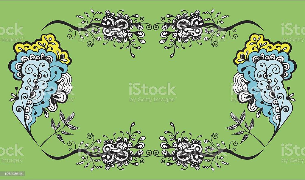 Floral frame for text vector art illustration