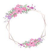 Floral frame for wedding invitation, greeting card design, banner and printing template. Vector illustration.