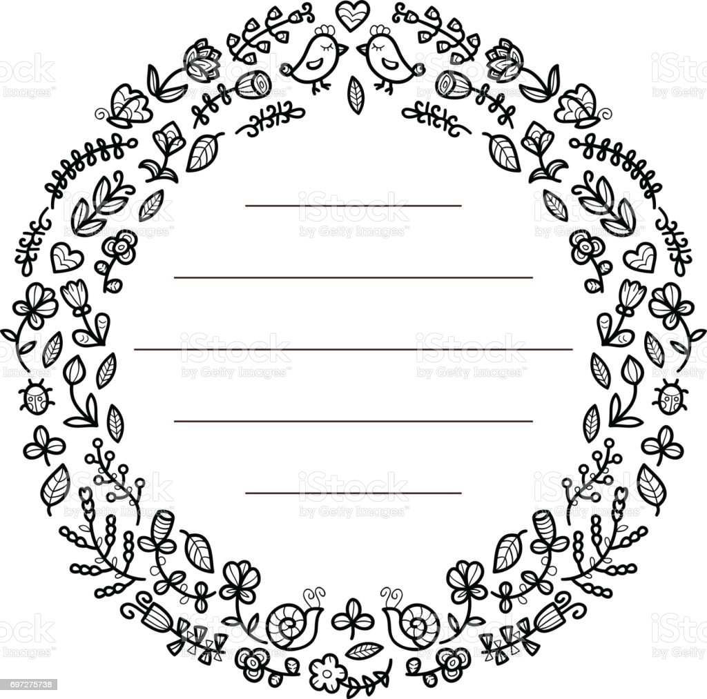 floral frame for your text cute flowers birds etcarranged in a shape