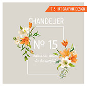 Floral Frame Graphic Design - Summer Lily Flowers