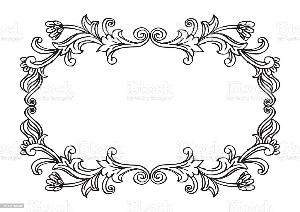 Floral frame. Hand drawing illustration. floral frame hand drawing illustration - arte vetorial de stock e mais imagens de abstrato royalty-free
