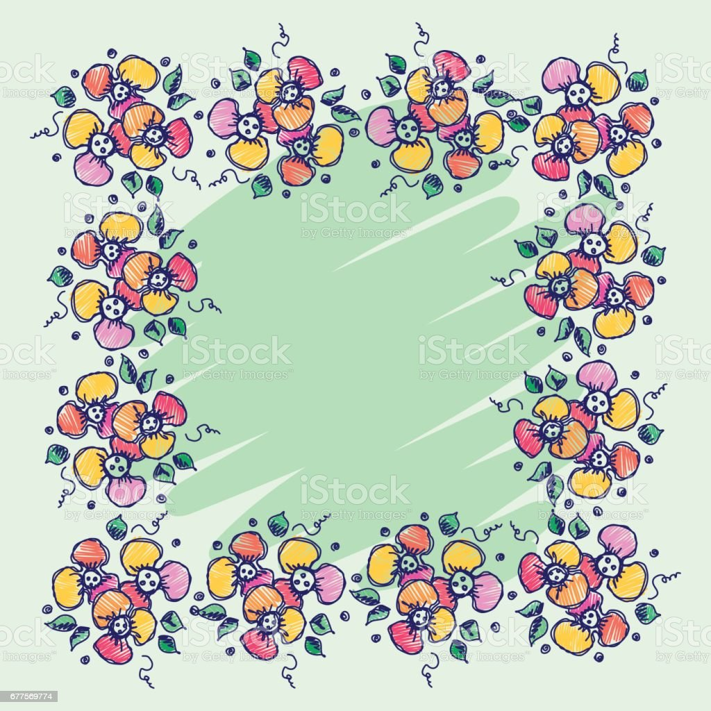 Floral frame. Hand drawn roses and leaves Vector design. Hand sketch line drawing. Decorative card with space for text. Artistic drawing Series of Cards, Blanks and Forms, Template.