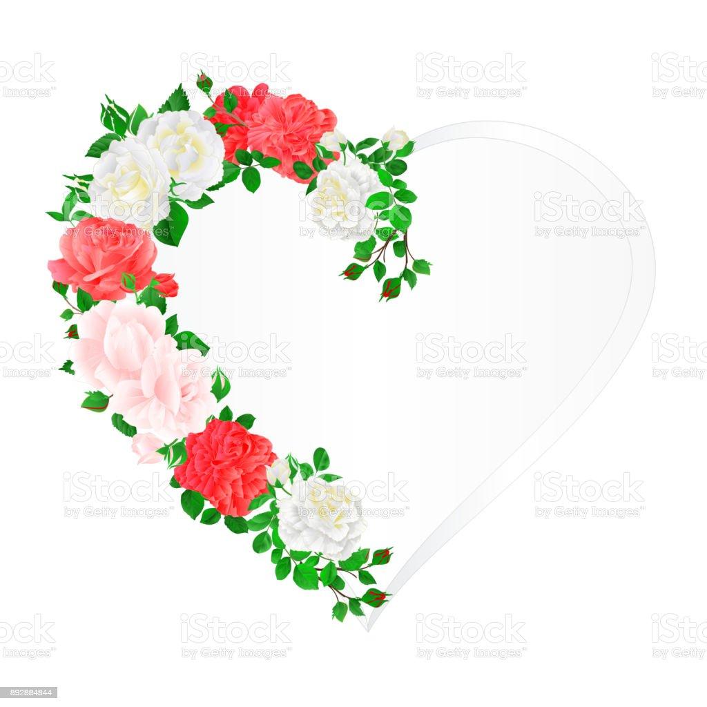 Ilustración de Corazón De Flores Marco De Color Rosa Y Blanca Rosas ...