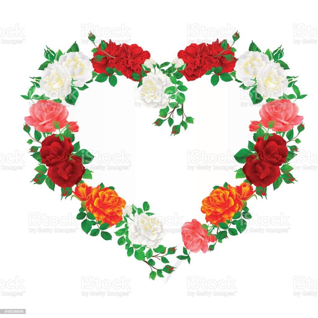 Ilustración de Corazón De Marco Floral De Rosas Y Capullos Fondo ...
