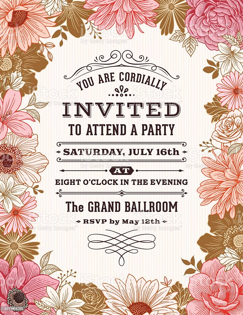 Cadre Floral Invitation - Illustration vectorielle