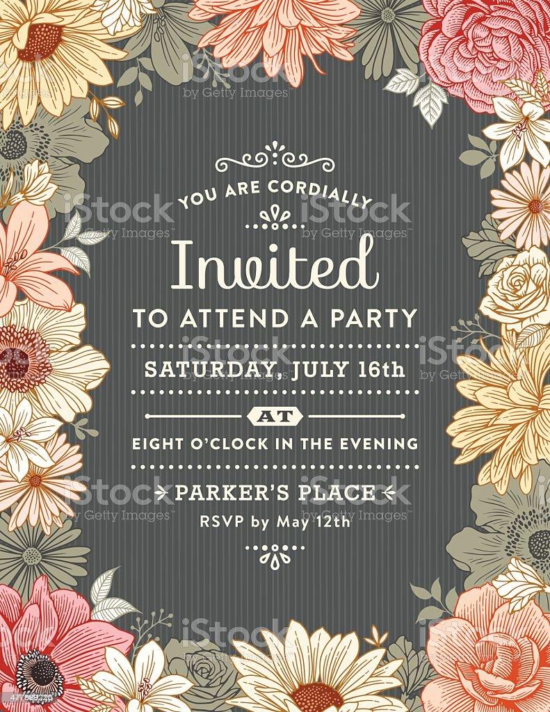 Convite Floral quadro - ilustração de arte em vetor
