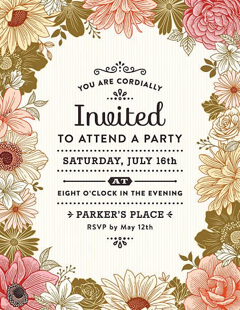Marco de flores de invitación - ilustración de arte vectorial