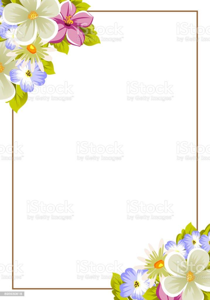 Ilustración De Marco Floral De Varias Flores Y Hojas Para El