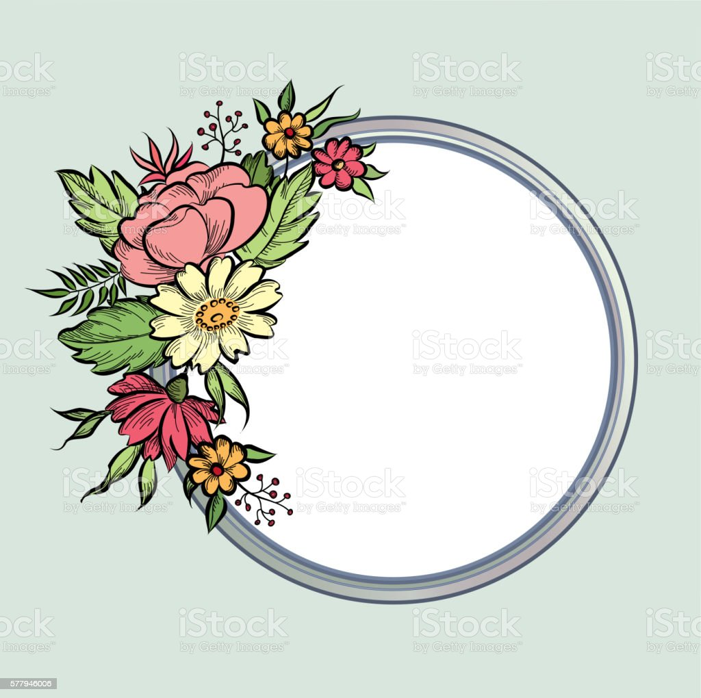 Floral Frame Round Shape Flower Bouquet Greeting Card Stock Vector ...