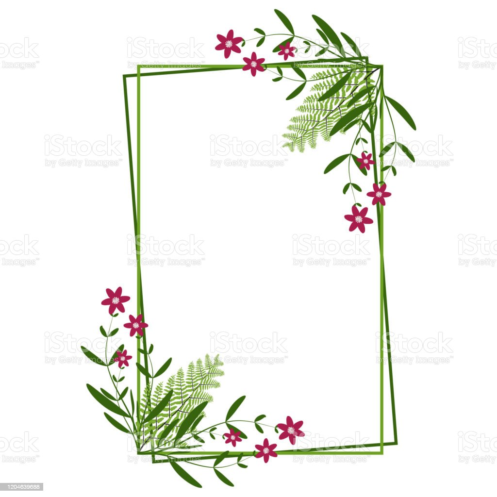 Floral Frame Template Vintage Floral Greeting Card Leaves Wedding ...