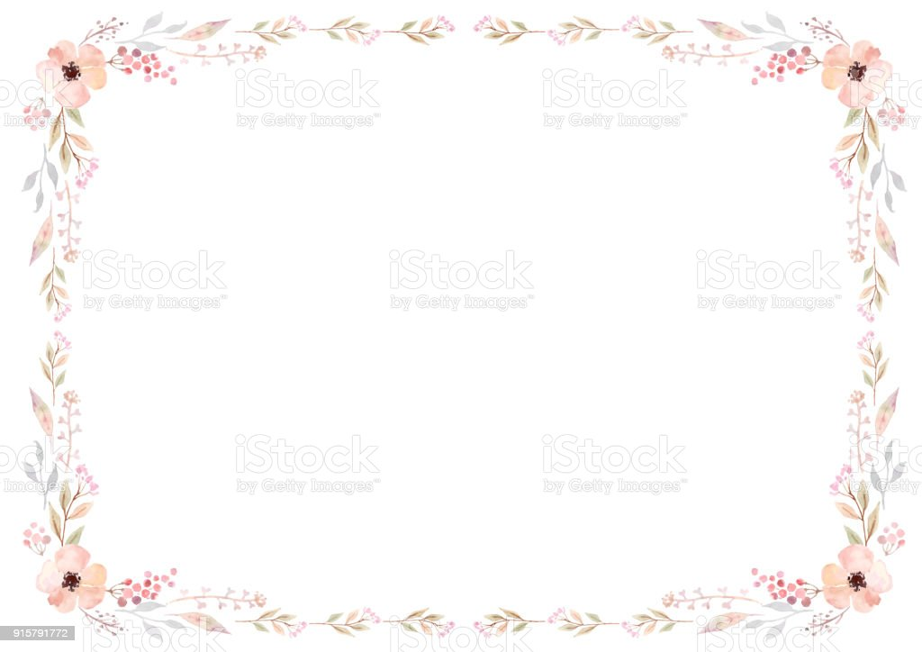 Floral frame template with pink flowers and swirly leaves on white background. vector art illustration