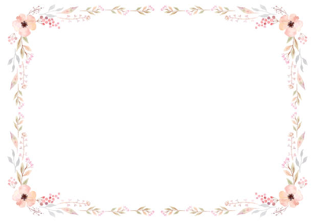 floral frame template with pink flowers and swirly leaves on white background. - floral frames stock illustrations, clip art, cartoons, & icons
