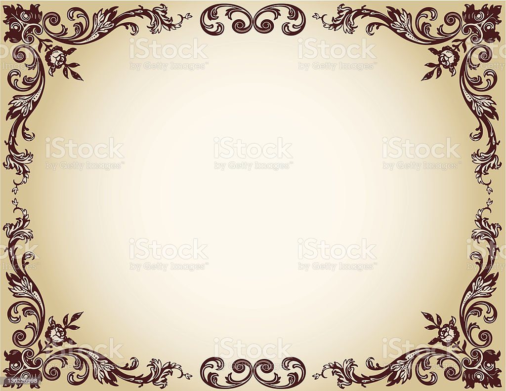 floral frame The vector image of a floral  frame  with a rose in a ancient style. Ancient stock vector