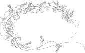 Floral doodle frame.