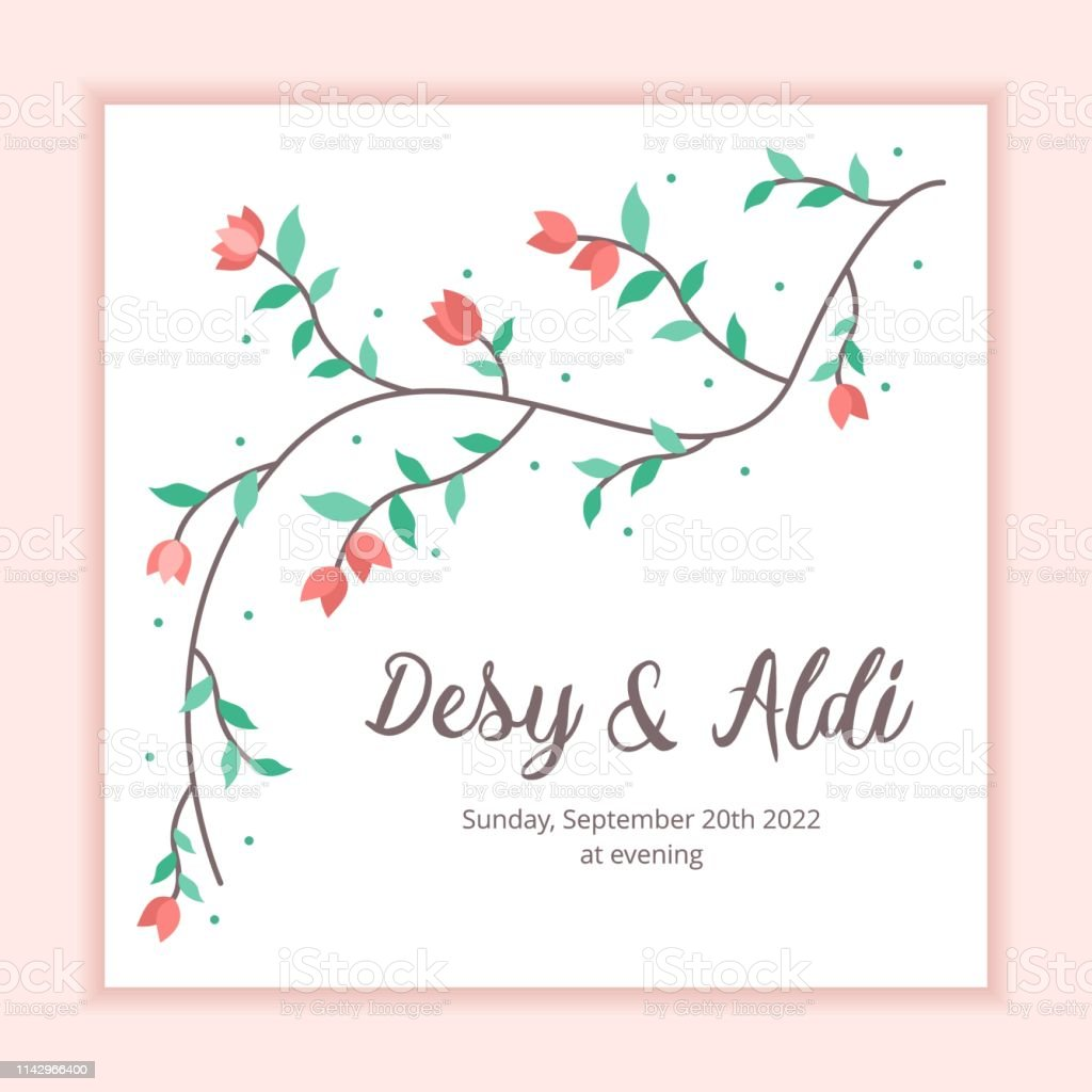 Floral Frame Wedding Invitation Card Template Stock Illustration