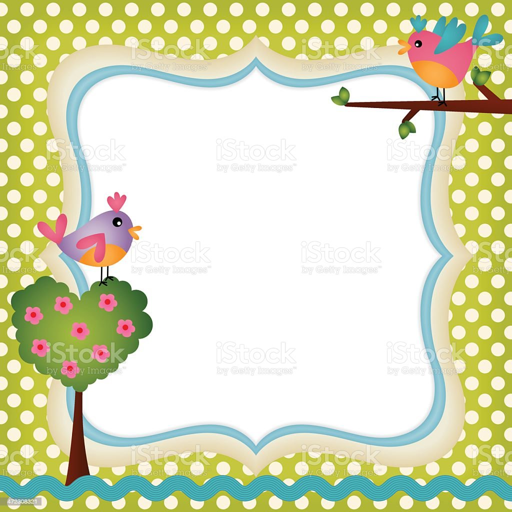 Floral frame with a birds royalty-free floral frame with a birds stock vector art & more images of anniversary