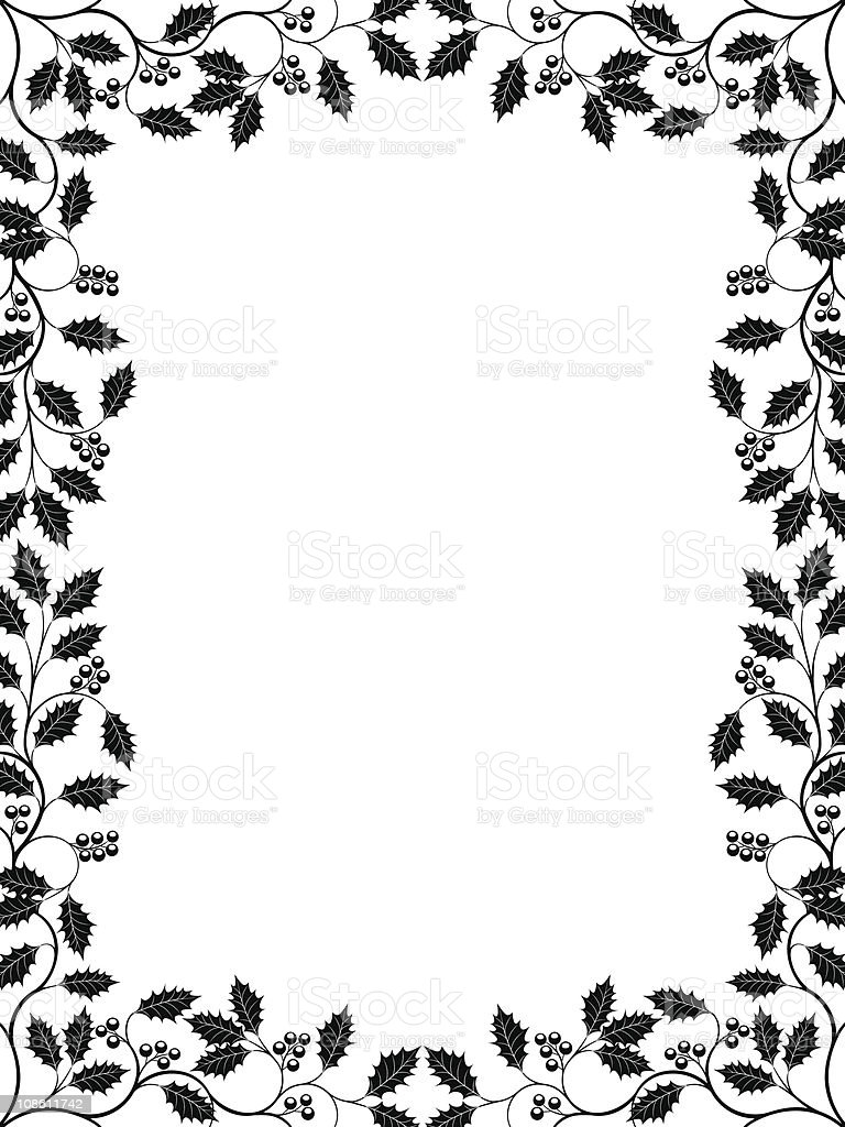 Floral frame with a holly branch stock vector art 108611742 istock for Cadre photo design