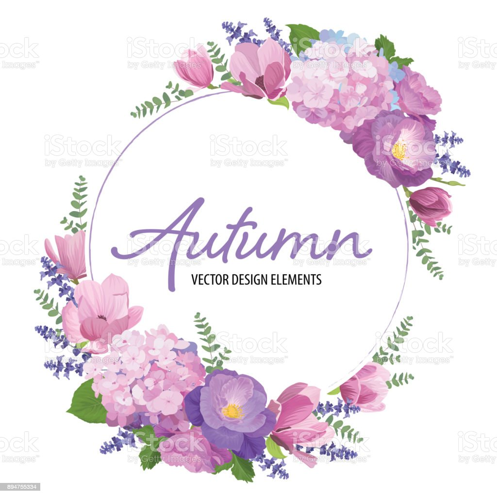 Floral Frame With Autumn Hydrangea Flowers Rose Magnolia And ...