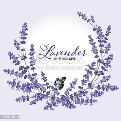 istock Floral frame with autumn lavender flowers with butterfly on violet background. 892568318
