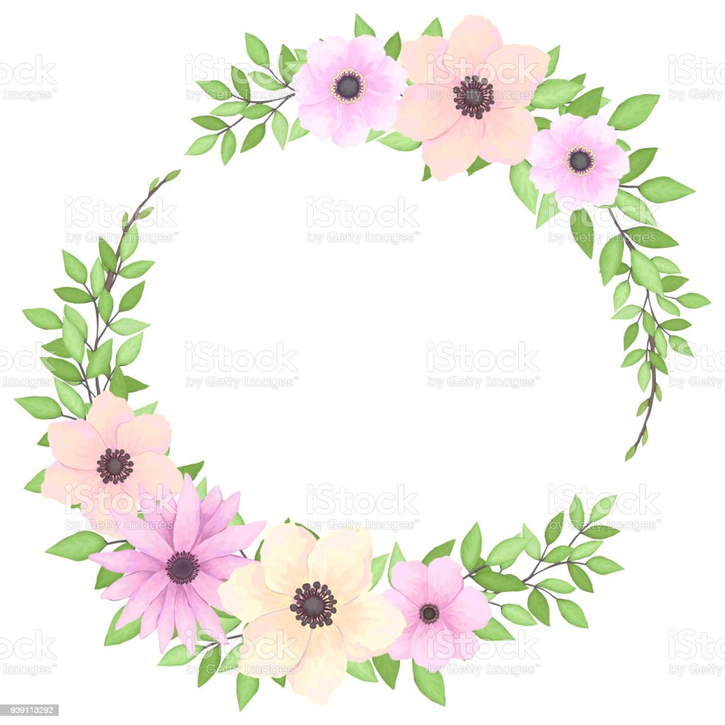 Floral Frame With Pink And Yellow Flowers Stock Vector Art More