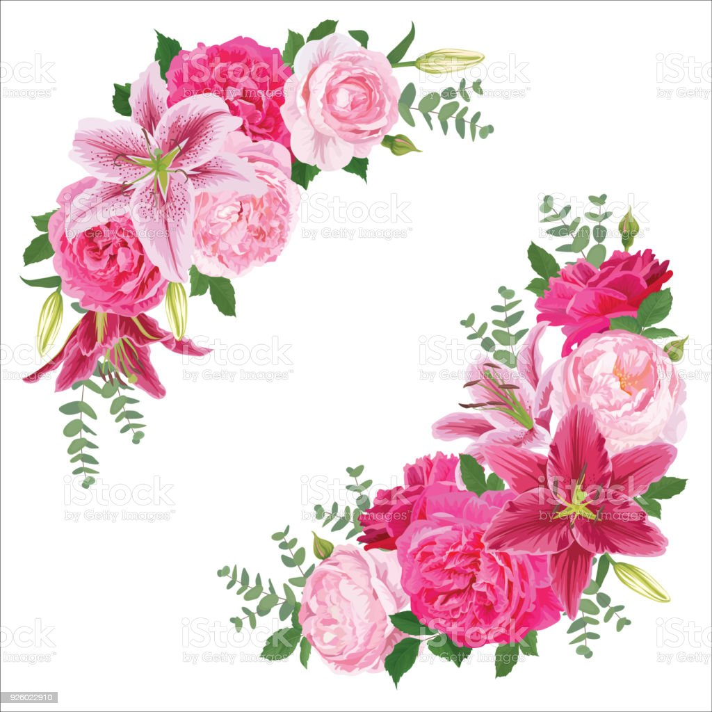 Floral Frame With Pink Rose Flowers And Lily On White Background