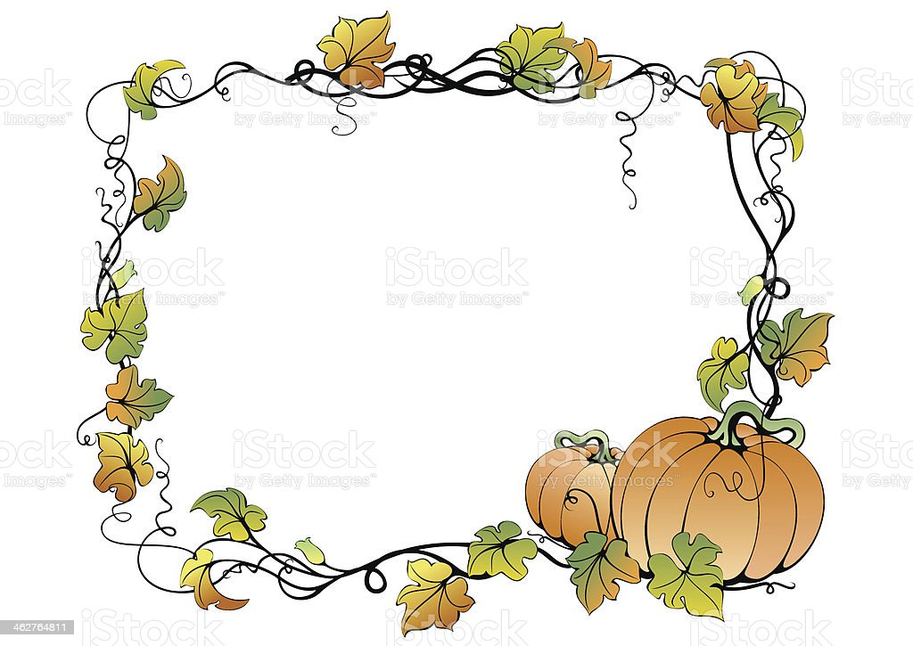 Floral frame with pumpkins royalty-free floral frame with pumpkins stock vector art & more images of abstract